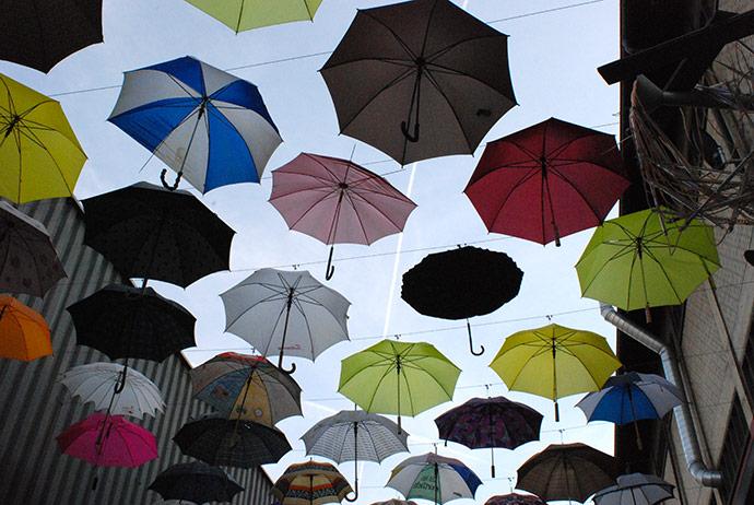 ombrelli colorati Viadukt zürich west