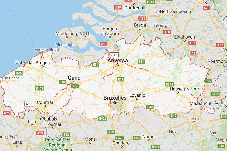cartina Fiandre